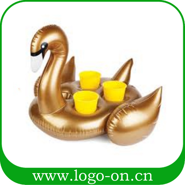 Water Entertainmen Pool Inflatable Golden Swan Shaped Floating Drink Holder