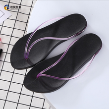 2017 Slope with the word drag the female thick sandals slippers beach slippers black fashion clip foot drag