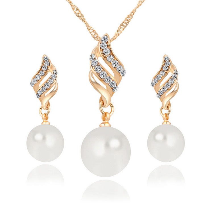 Fashion earring mini oeder online shop pearl necklace jewelry <strong>set</strong>