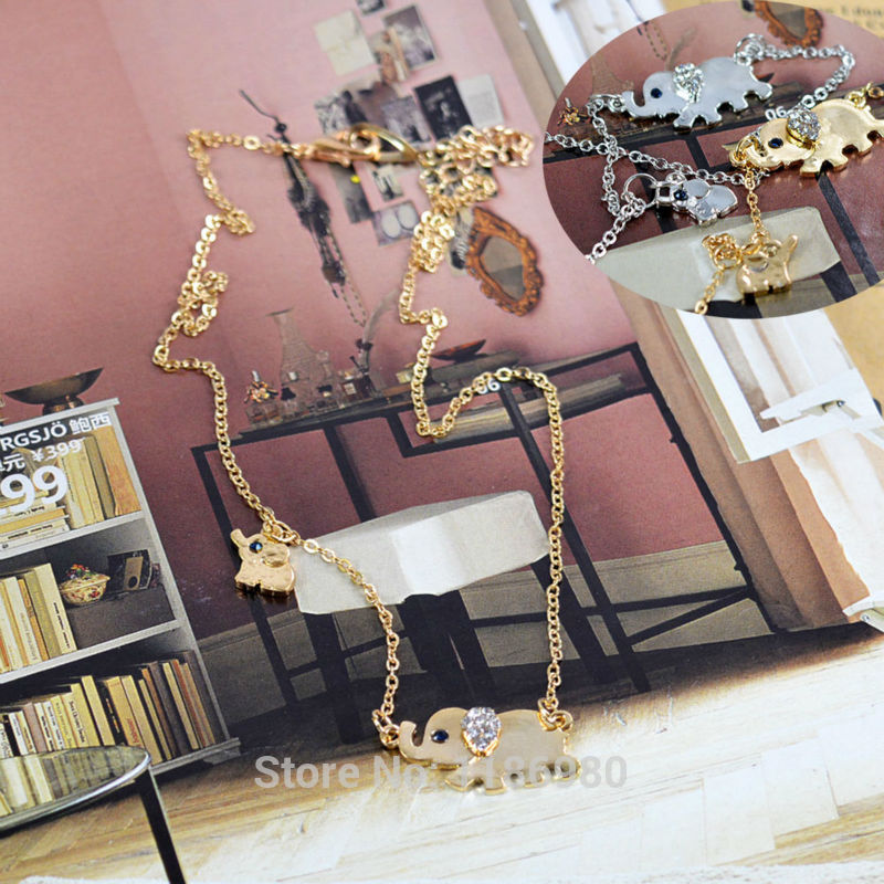 Women Cute Elephant Stroll Design Crystal Chain Gold Silver Necklace