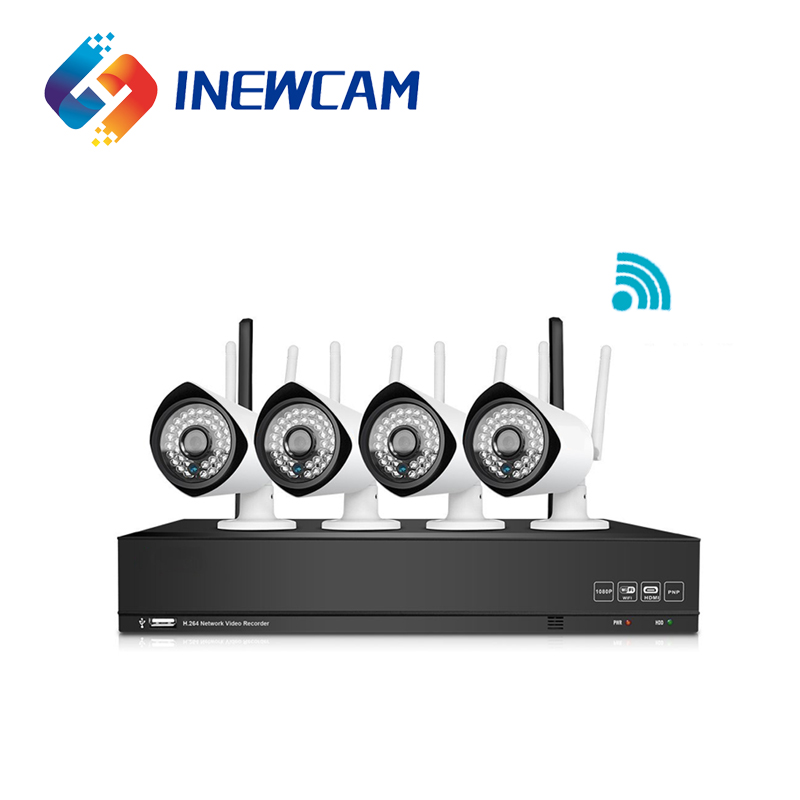 Inewcam 4CH Wifi NVR Kit 1080P Waterproof Security IP CCTV Wireless Camera System