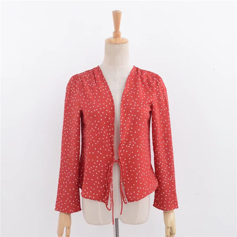 Newest Autumn Fashionable Star Printing Silk Tippet Sun-Resistant Knotted Cardigan Dot Blouses Vintage