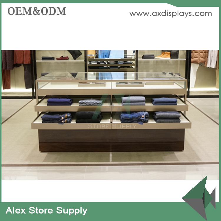 manufacturer metal clothing display shelf table with drawer for garment shop