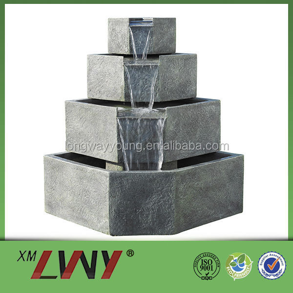 45 Inches 3 tier outside water fountains with light of villa decoration