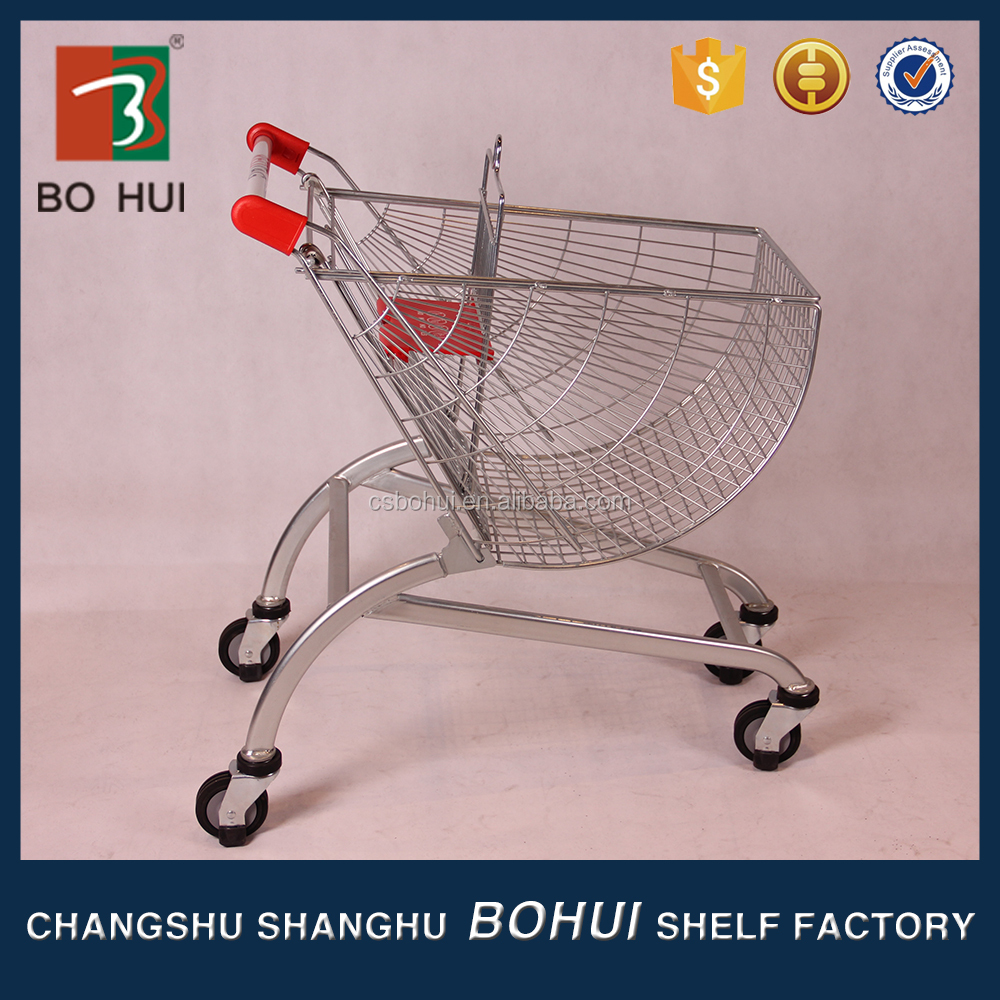 Hot Selling 150 Liters big trolley cart supermarket shopping With handle Wheels And Baby Seats With CE