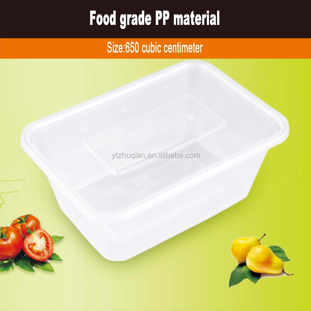 650ML Transparent Disposable square Plastic Food Container Lunch Box