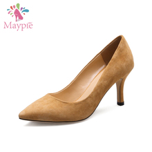 Latest 7.5cm Kids Suede Slip-on Fashion Fetish Mature Sexy Girls High Heel Shoes for Party
