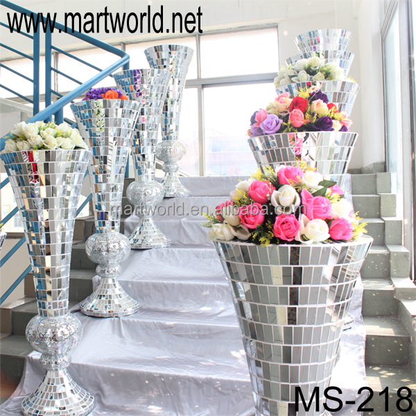 Latest wedding mirror pillars with strong resin material;Wholesale decorative fiber wedding column/vase(MS-218)