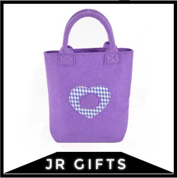 Cute felt fabric wholesale cheap purple tote shopping bag