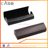 Black/brown magnet leather glasses case