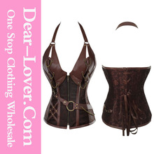 Sex Women Photo Steel Bone xxxl Sexy Leather Steampunk Corset with Thong