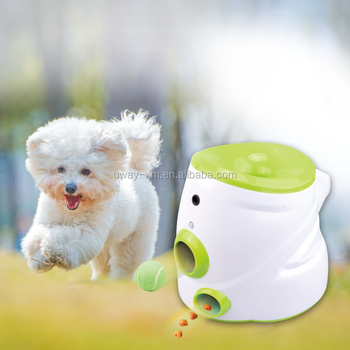 Smart Mobile control pet ball launcher with food reward and microphone