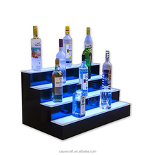 LED Lighted Liquor Display 2 Step LED Lighted Bar Shelves with LED acrylic shelf liquor display shelves