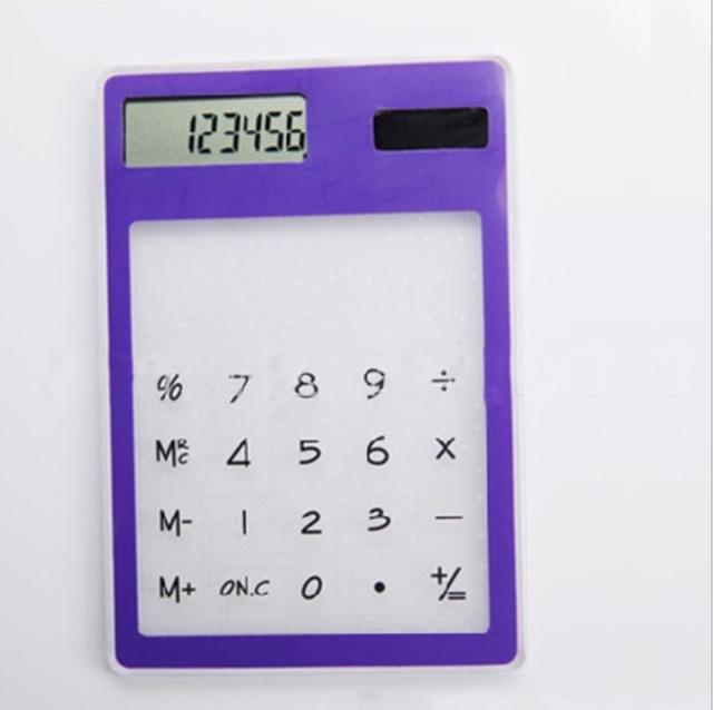 touch sensitive calculators,transparent calculator,acrylic solar calculator with 8 numbers