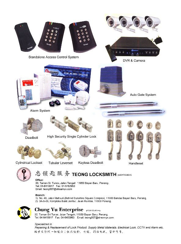 LOCKSMITH, CCTV, ALARM, MASTER KEYS, LOCKS, REMOTE CONTROL
