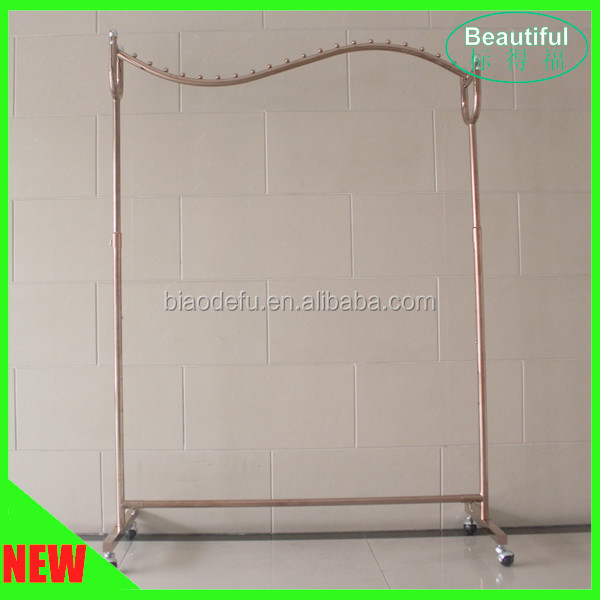 Beautiful Rose Gold Plating S-shaped Garment Display Rack