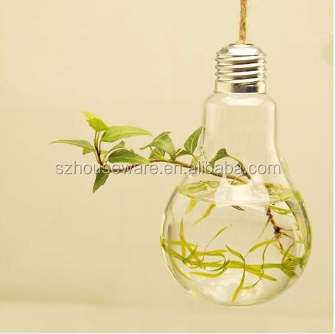 Wholesale bulb shape unique hanging crystal glass flower vases, air plant glass terrarium for wedding centerpiece decor