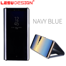 LEEU DESIGN Factory Clear View PC Cover Mirror Flip Leather Cases for samsung note8