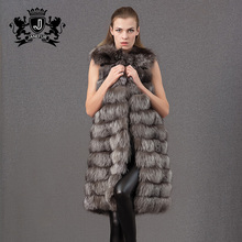 Best Winter elegant Real fox fur lady leather vest for high quality