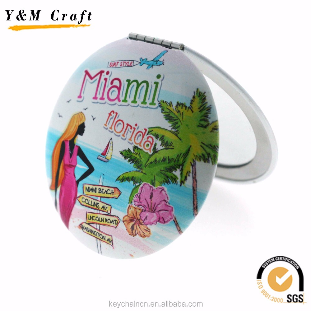 Customized sublimation compact mirror florida souvenirs wholesale
