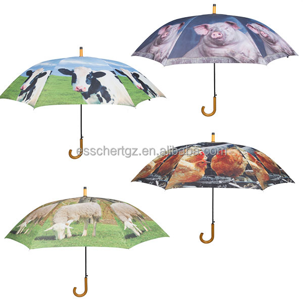 Esschert Design Support customize pattern wood J Shape adults folding umbrella