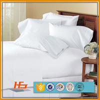Percale 180TC White Polyester Cotton Blend Bed Sheet for Hotel