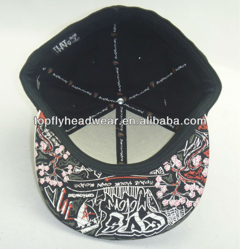 Floral print under brim Fitted cap and fashion hat and headwear