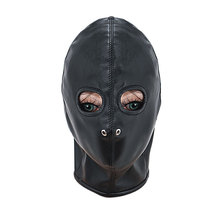Black PU Head Bondage Belt Harness Slave Fetish Sexy Face Mask Hood Latex Mask Fetish