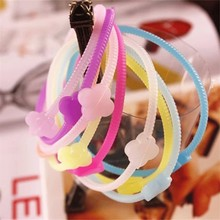 zly229 New Fashion Colorful Four Leaf Clover Thin Silicone Rubber Wristband Bracelet Elastic Hair Bands
