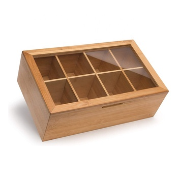 Bamboo Tea Storage Organizer Magnetic Gift box  Wooden Compartment Box
