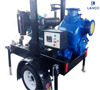 Trailer mounted diesel engine water pump for agricultural irrigation