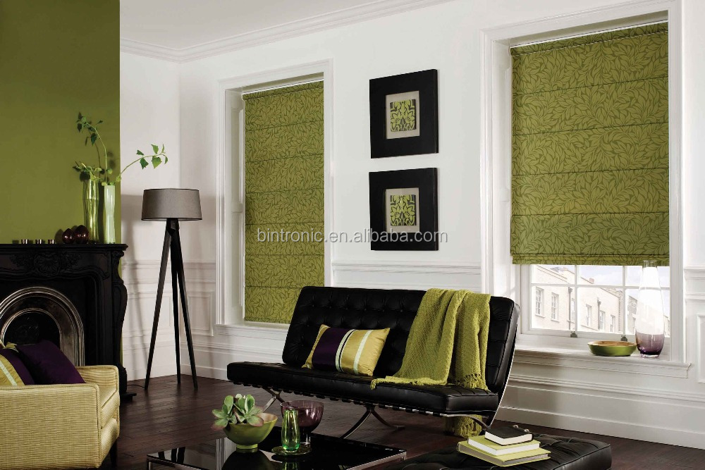 Bintronic Electronic Window Shade And Curtain Track Motorized Roman Blinds Shaded Pole Motor