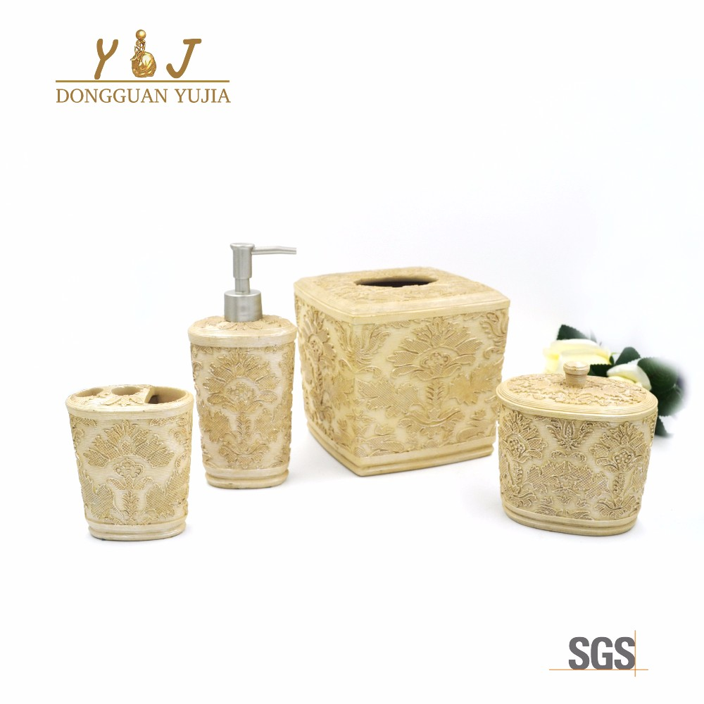 Hotel Royal Resin 4 pcs Bathroom Accessories set lotion dispenser toothbrush holder