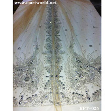 gold rhinestone beaded fabric for bridal wedding dress(KFT-025)