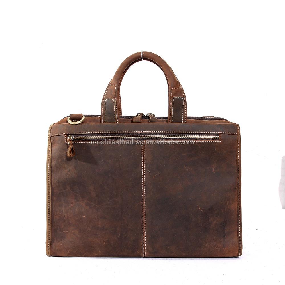 Custom Vintage Crazy Horse Leather Handbag For Men