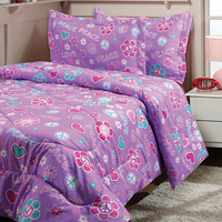 polyester purple colored floral damask bedroom comforter set