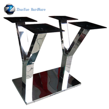 Modern design metal dinning table legs double K shape polished stainless steel