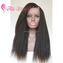 Cheap 150% Indian Virgin Human Remy Hair Italian Yaki U Part Machine Made Kinky Straight Full Wigs for Sale for Black Women