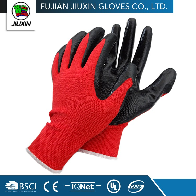 Safety Nitrile Coating Multipurpose Polyester/Nylon Protective Gloves