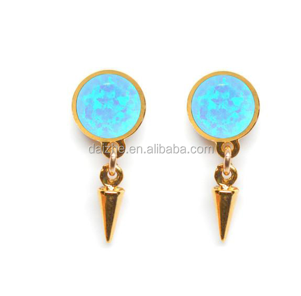 2016 high quality 18k gold plated blue opal dots spikes stud earring for women