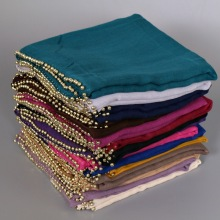 Beaded scarf hijab with slip hand-feel shawl in plain color reach color to choose
