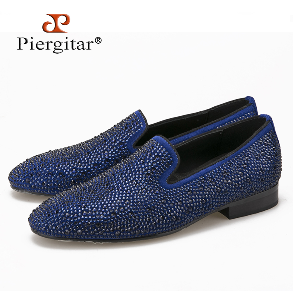 High Quality Men Blue Loafers with Diamonds
