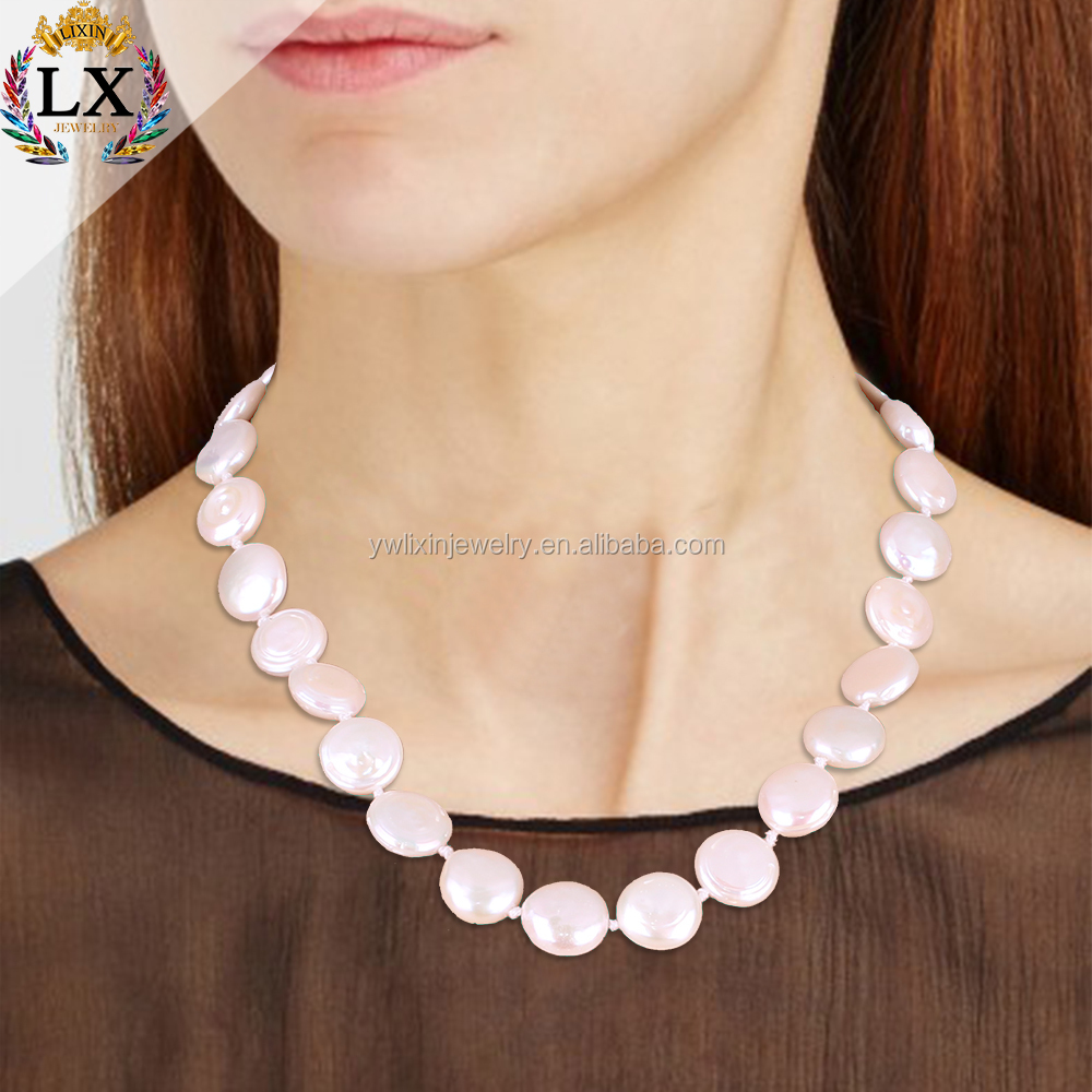 NLX-00915 simple design baroque AAA- grade super biggest large coin shape natural white color irregular shape pearl strand