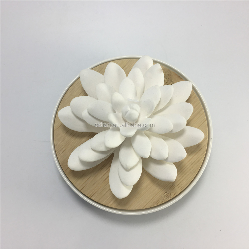 Ceramic flower Fragrance essential oil diffuser with bamboo lid
