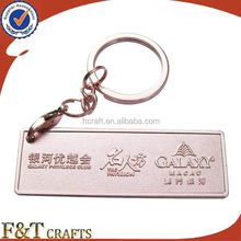 keychain manufacturer making rectangle die cast copper plated metal keychain for brand