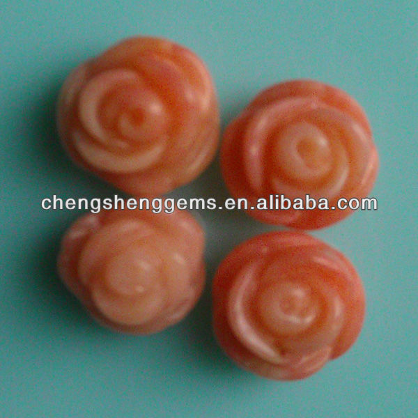 10mm natura half drill rose/flower shape pink coral beads for wholesale