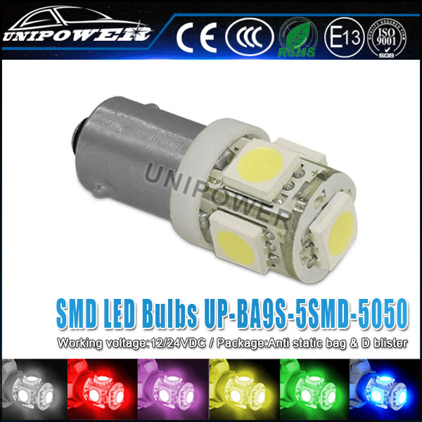 360-Degree Shine 5-SMD 5050 BA9 LED Bayonet Light Bulbs for 64111 64132 or H6W etc