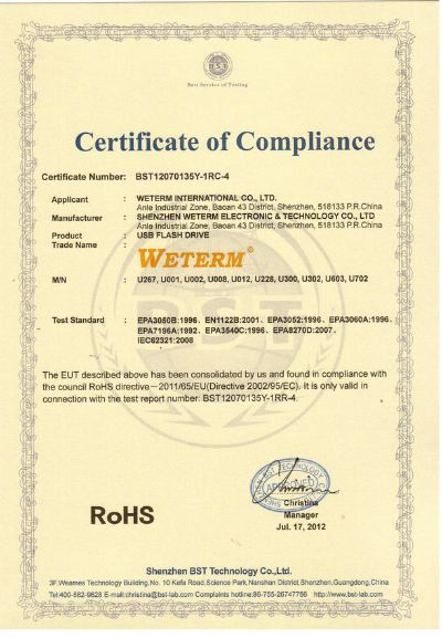 RoHS Certificate for USB Flash Drives