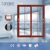 Tansive construction double glazed sliding wood door window inserts