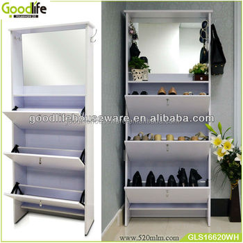 Goodlife 3 layers shoe rack doors mirror shoe cabinet with storage tank